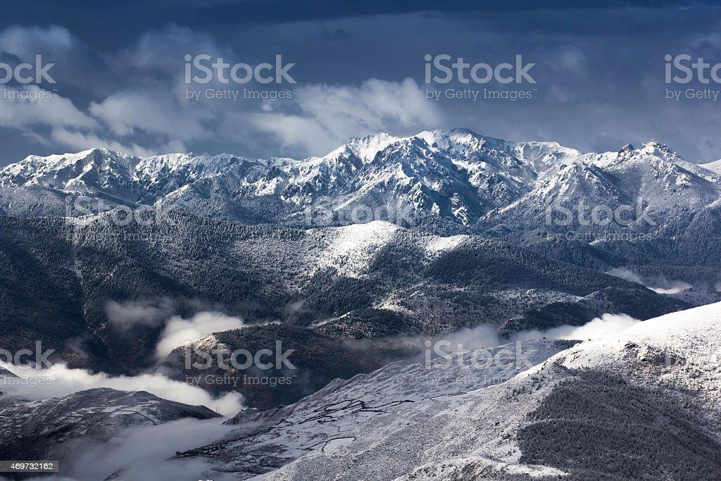 mountain snow landscape view stock photo
