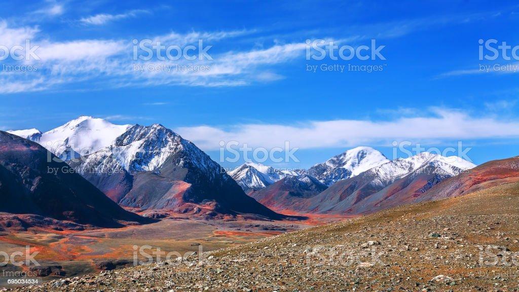 mountain snow peak and gorge stock photo