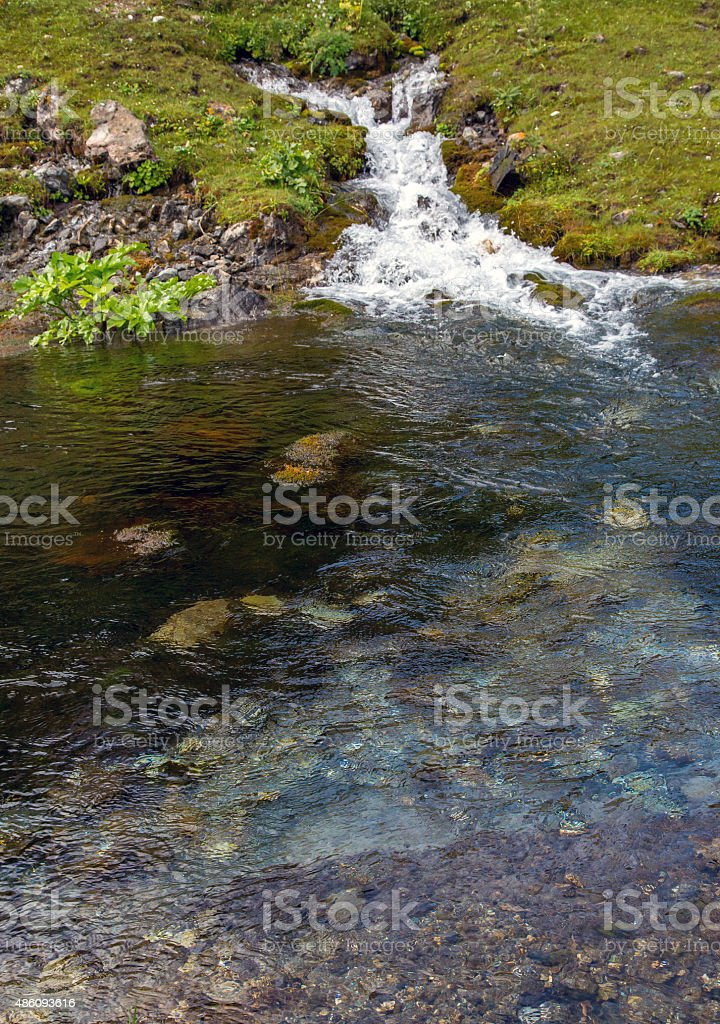 Mountain steam and watercourse stock photo
