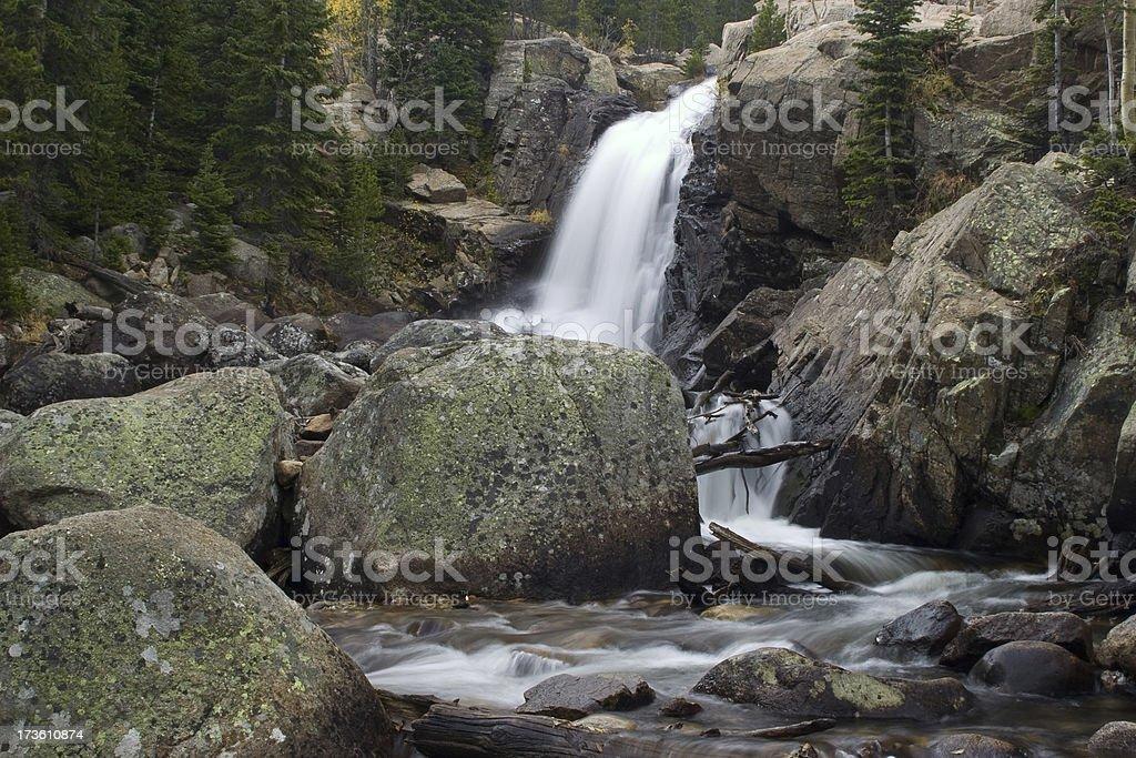 Mountain Stream Cascades in Rocky Mountain National Park, Colorado stock photo