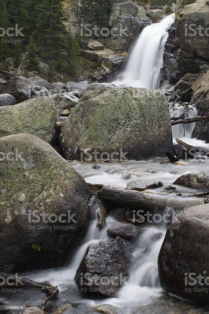 Mountain Stream Cascades (Vertical) stock photo