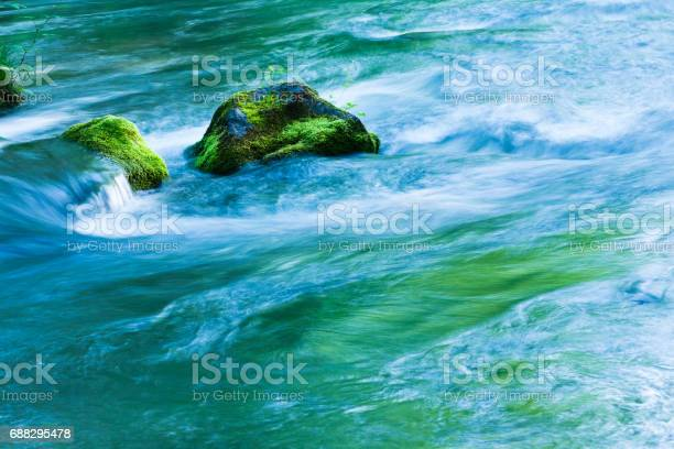 Photo of Mountain Stream Flow Through Moss Covered Rocks