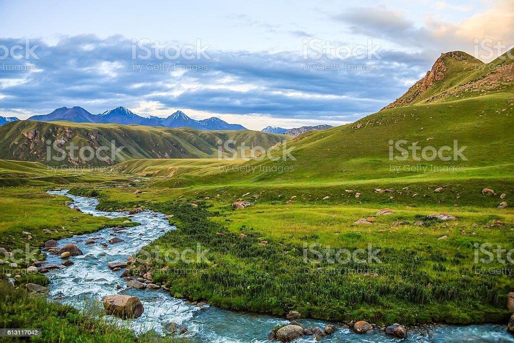 Mountain stream flowing through the valley stock photo