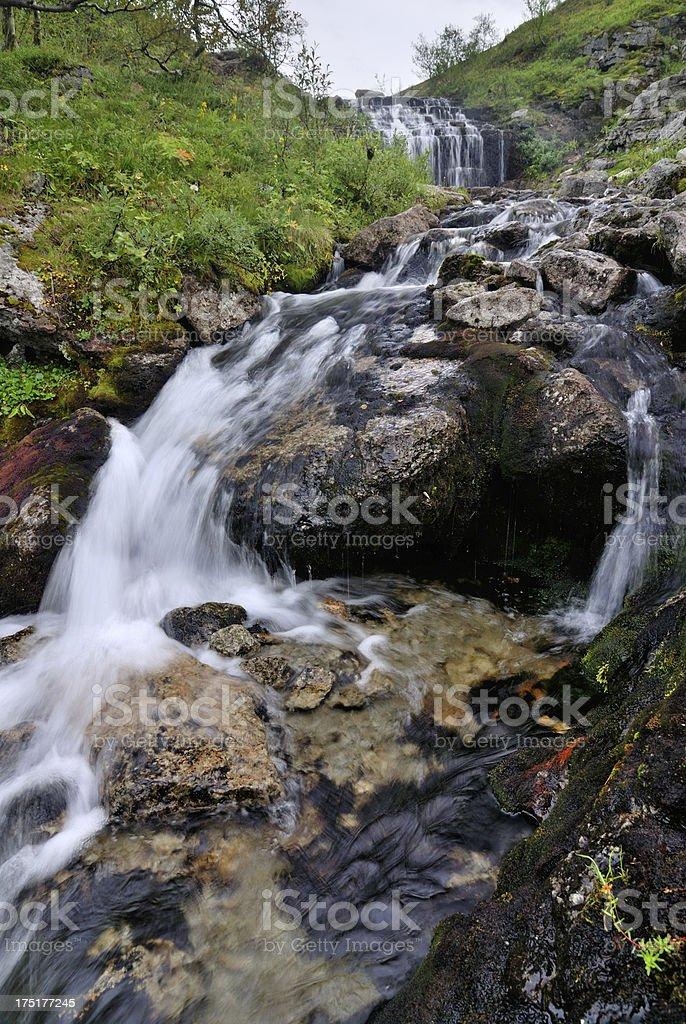 Mountain stream in Khibiny Mountains royalty-free stock photo