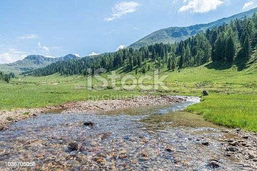 Mountain stream in the Nockberge mountains in Lungau, Austria