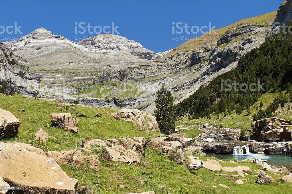 mountain stream in the Pyrenees stock photo