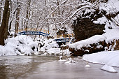 Mountain stream in winter, snow-covered beaches and forest