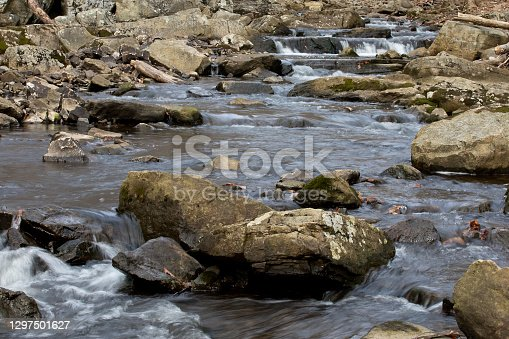 Blurred motion enhances the beauty of this stream in the wilderness.