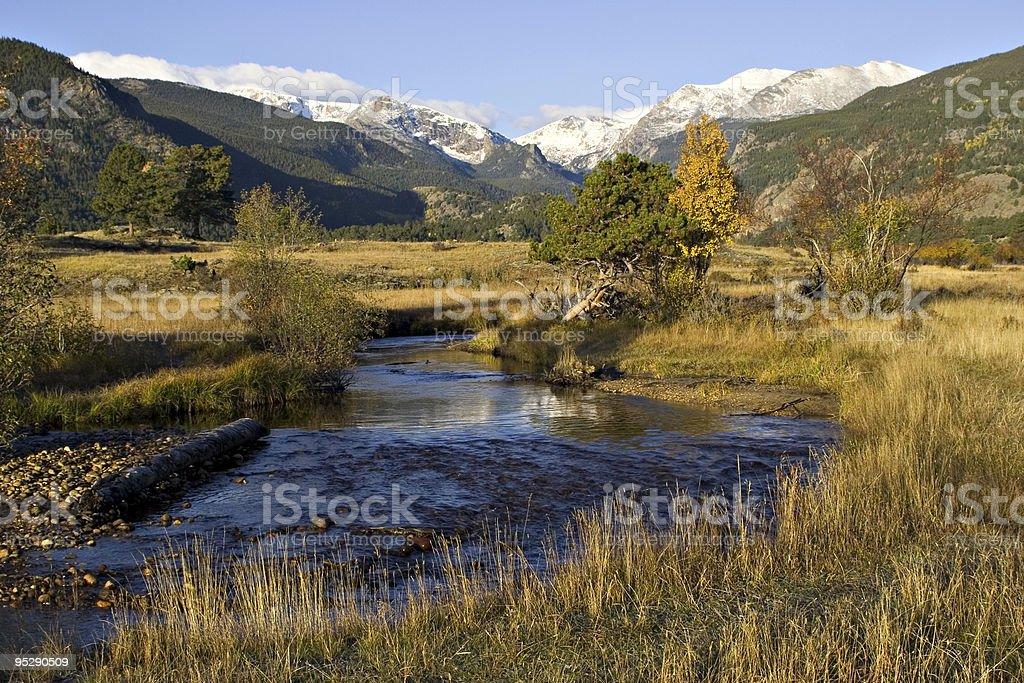Mountain Stream Through A Golden Meadow In Autumn stock photo