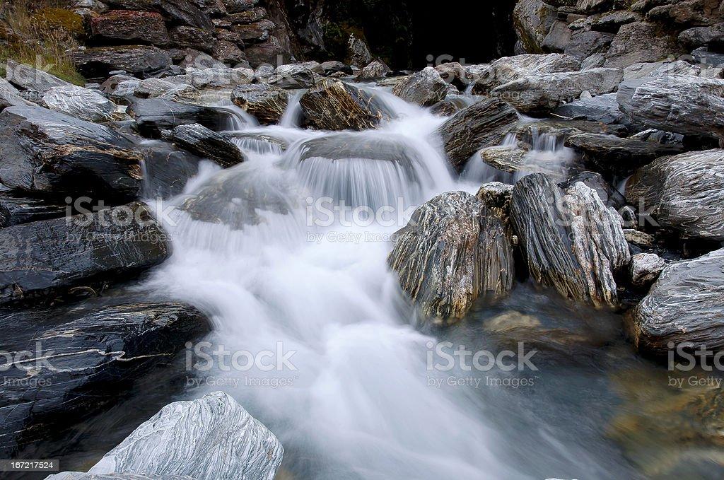 Mountain Stream, West Coast Otago, Routeburn Track, New Zealand royalty-free stock photo