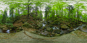 istock mountain stream with a small waterfall (360-degree panorama, HDRi) 1243277772