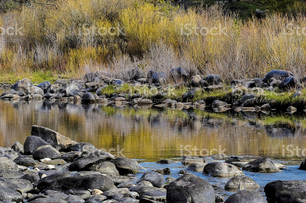 Mountain Stream with Reflections stock photo