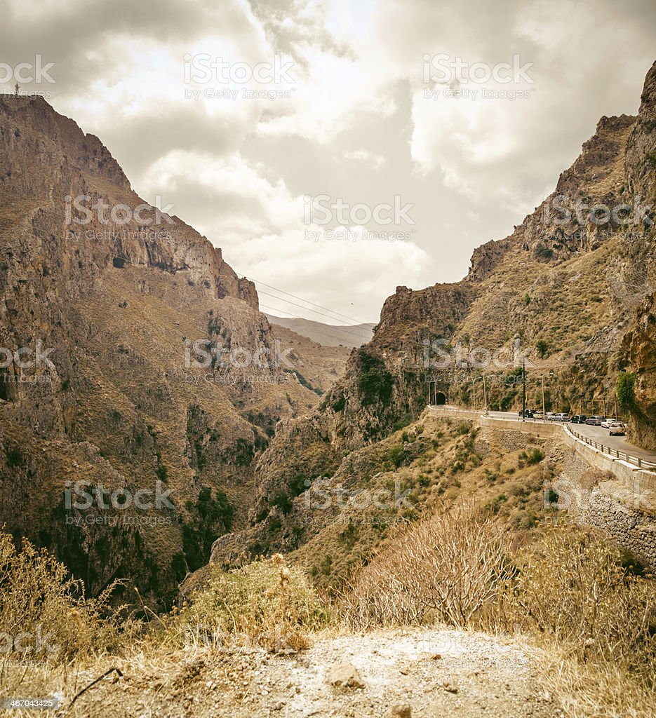 Mountain street in Crete, Greece stock photo