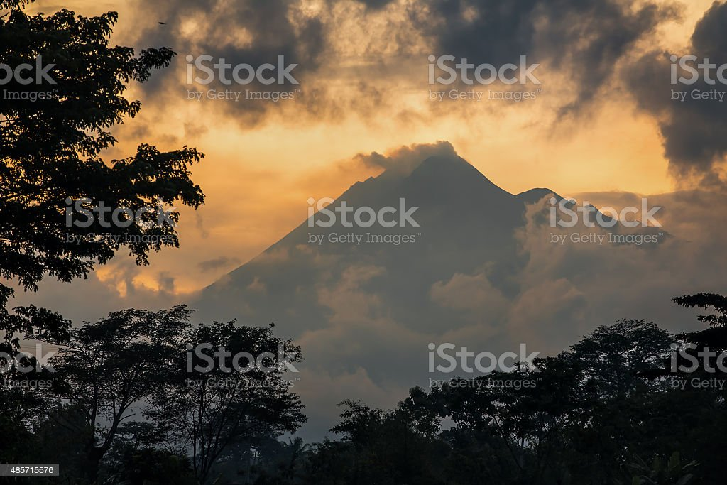 Mountain Sumbing volcano, Java, Indonesia stock photo