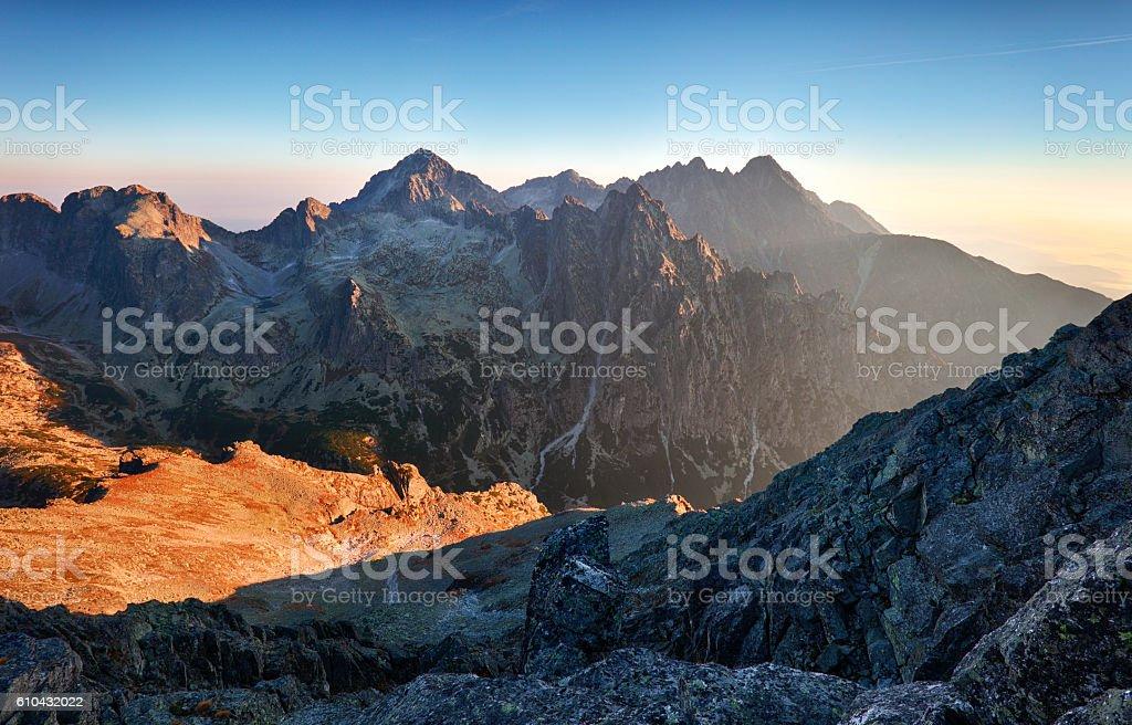 Mountain sunlight at sunrise, Tatras stock photo