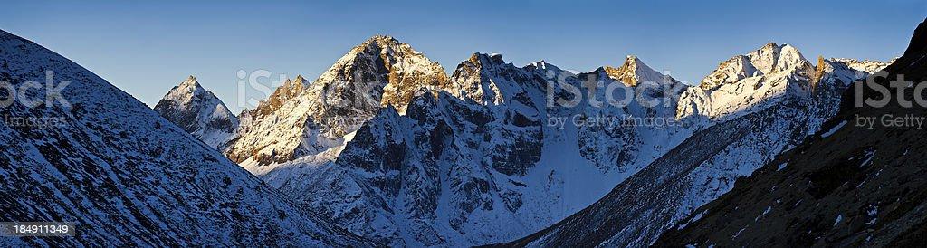 Mountain sunrise golden dawn in Himalayas Nepal royalty-free stock photo