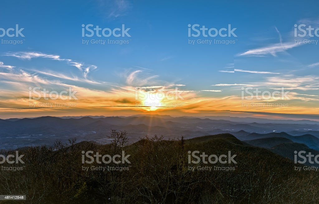 Mountain Sunset HDR stock photo