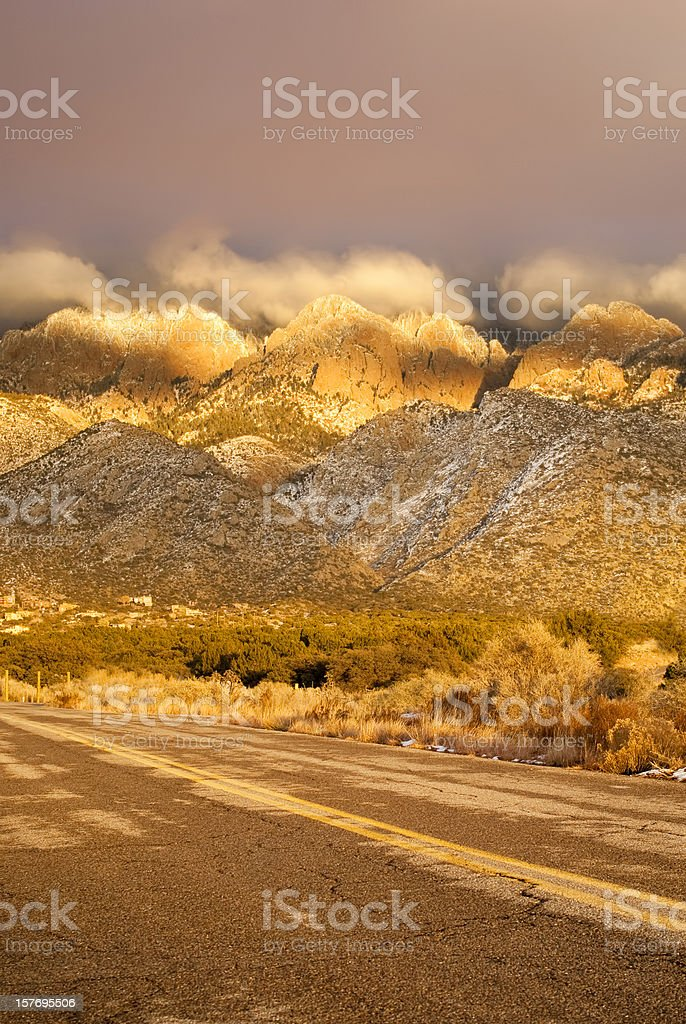 mountain sunset landscape road royalty-free stock photo