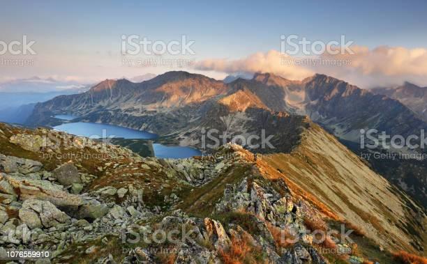 Mountain Sunset Panorama From Peak Slovakia Tatras Stock Photo - Download Image Now