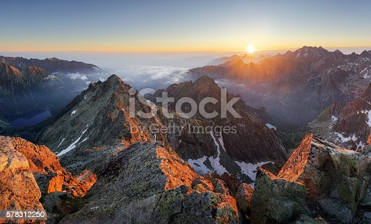 istock Mountain sunset panorama landscape in Tatras, Rysy, Slovakia 578312250