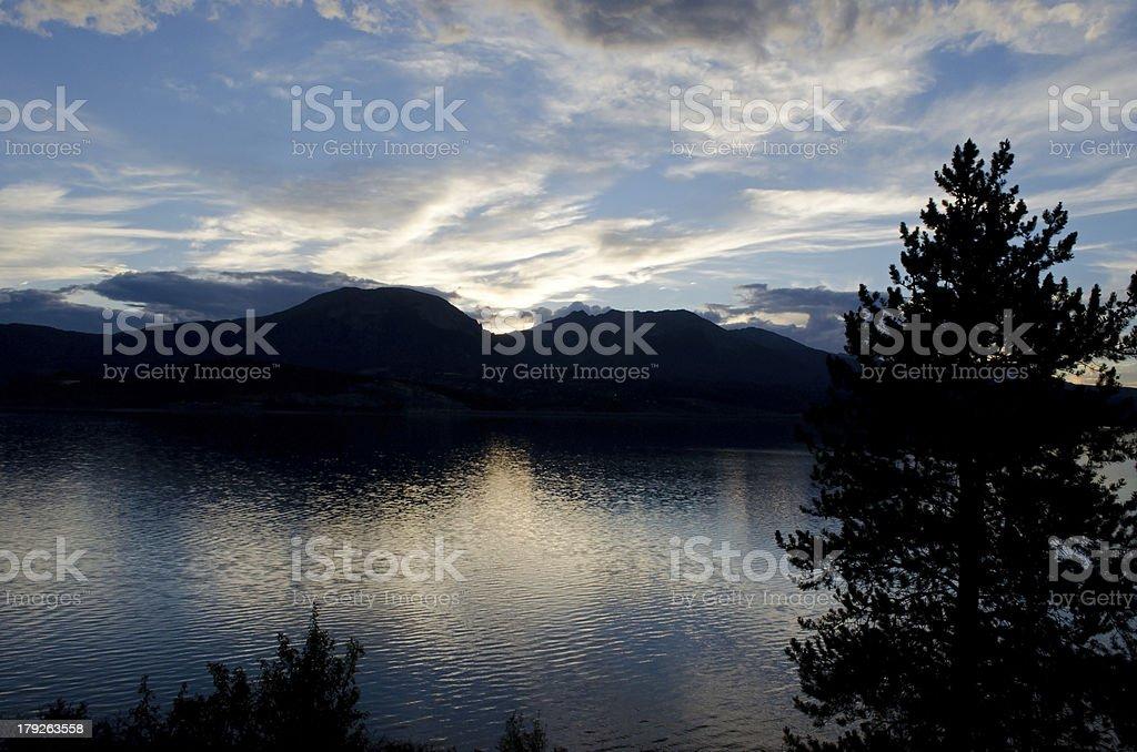 Mountain Sunset Reflecting in Lake Dillon, Colorado stock photo
