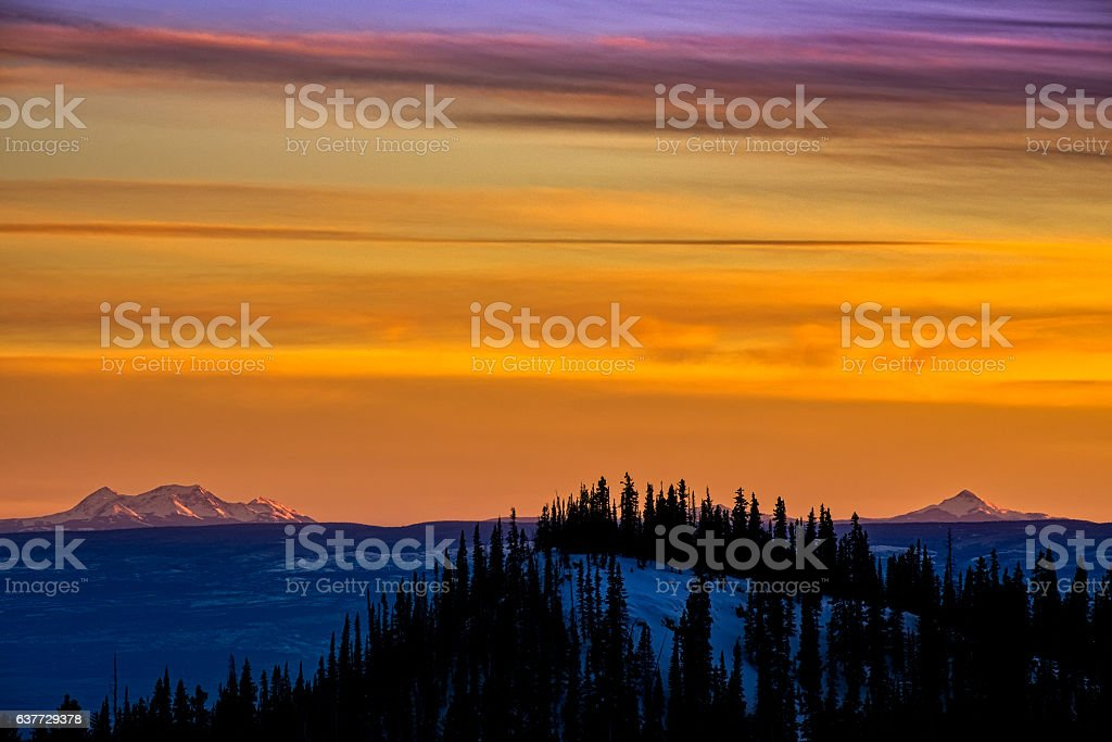 Mountain Sunset with Dramatic Color stock photo