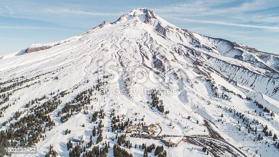 An aerial view of Mount Hood with Timblerline Lodge at the bottom