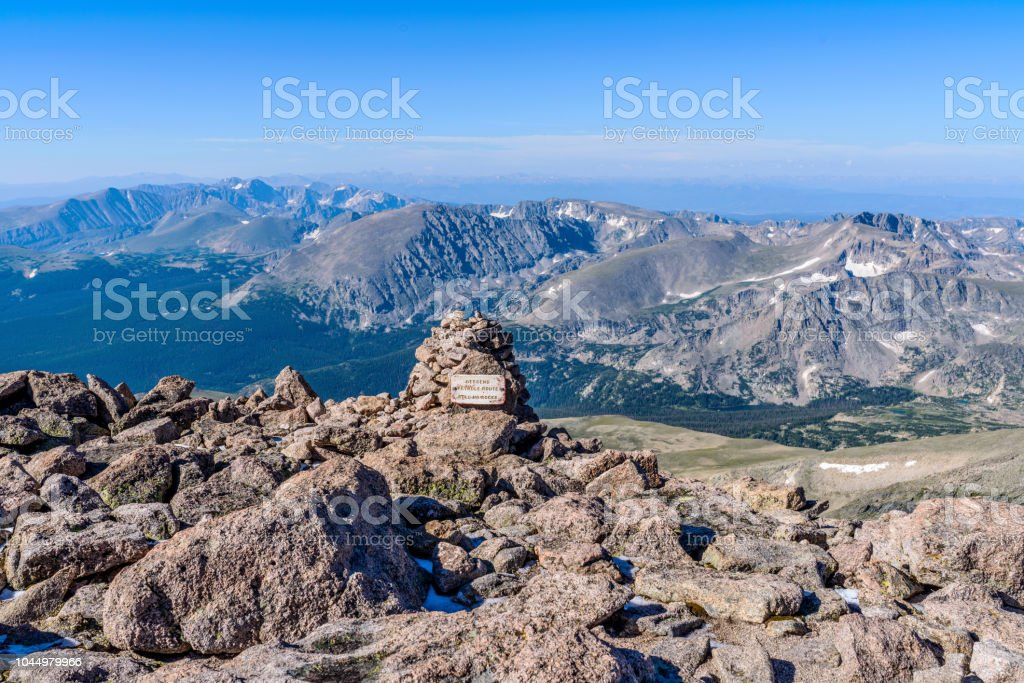 A Summer morning summit view from top of Longs Peak, looking from...