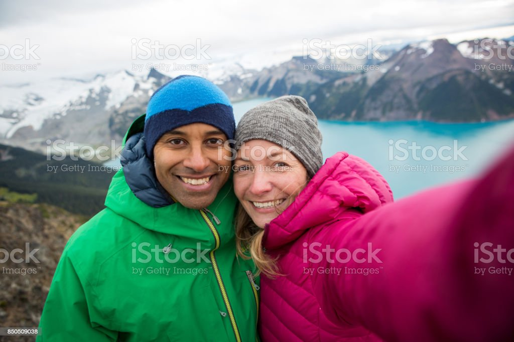 Mountain top selfie stock photo
