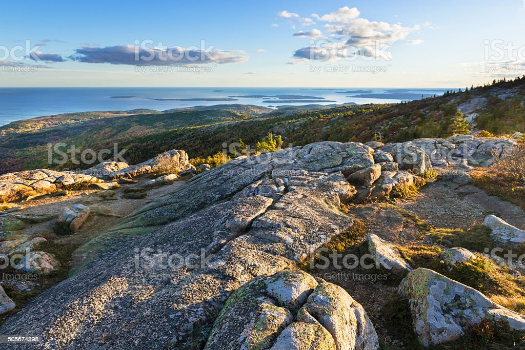 Mountain Top View of Sunset Along Coastline stock photo