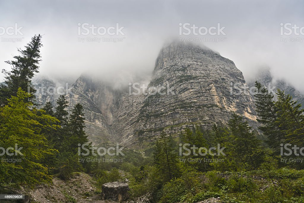 Mountain tops in the clouds stock photo