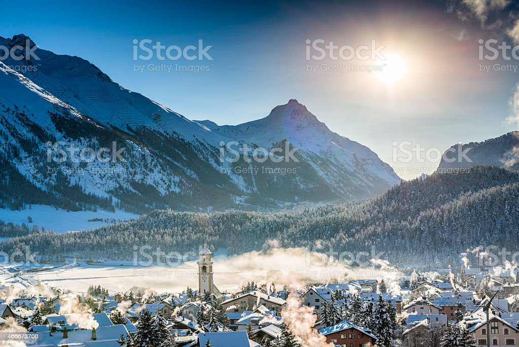 Mountain town in winter stock photo