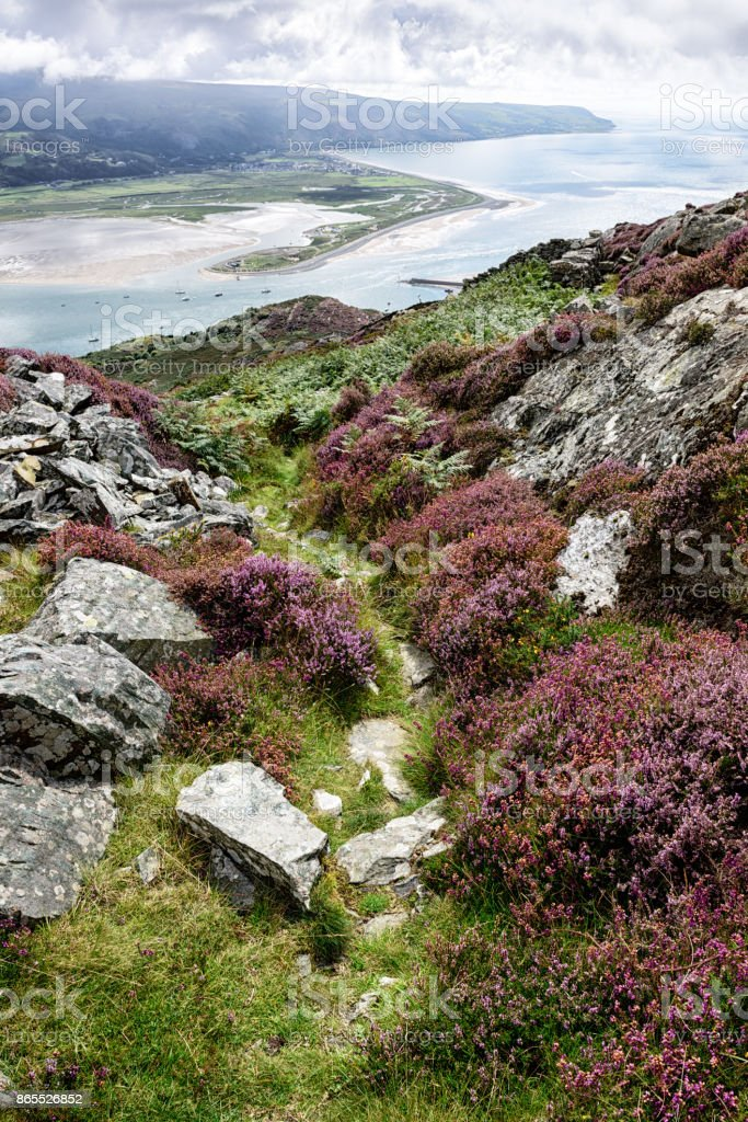 Mountain trail and   River Mawddach, Barmouth, Wales stock photo