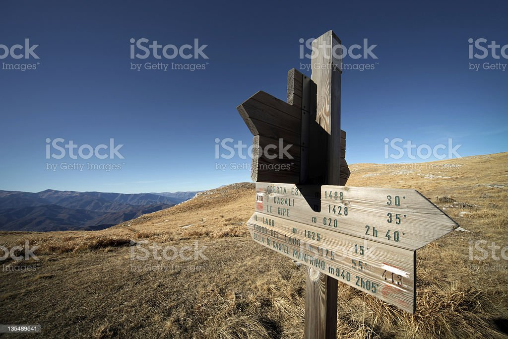 Mountain trail signs stock photo