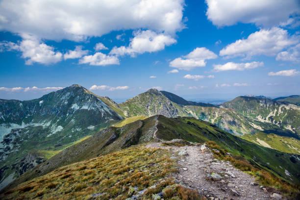 Mountain trail to Baraniec, one of the highest peaks of the Western Tatras, Slovakia. Slovakian Tatra mountains beautiful scenery on the way to the mountain hut. – zdjęcie