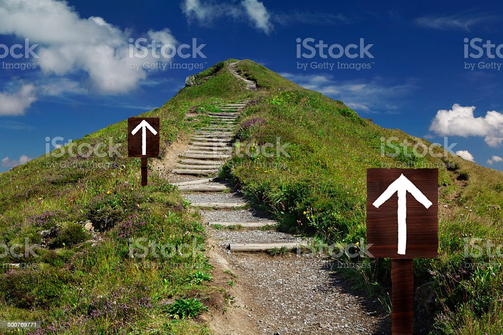 Mountain trail to the top stock photo