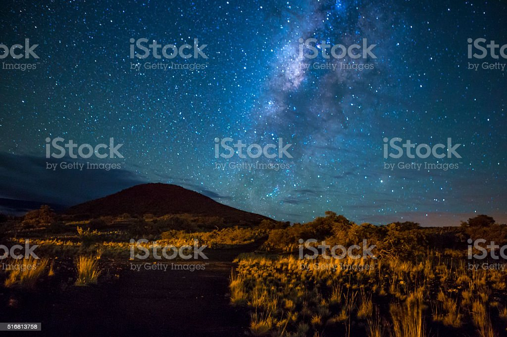 Mountain Trail Under the Milky Way stock photo