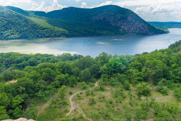 Mountain Trail with Hudson River in the Background stock photo