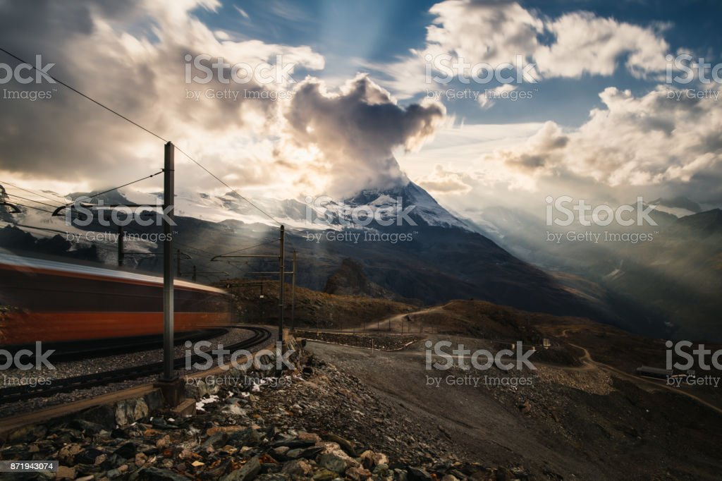 Mountain train in front of Matterhorn peak,zermatt matterhorn gornergrat switzerland stock photo
