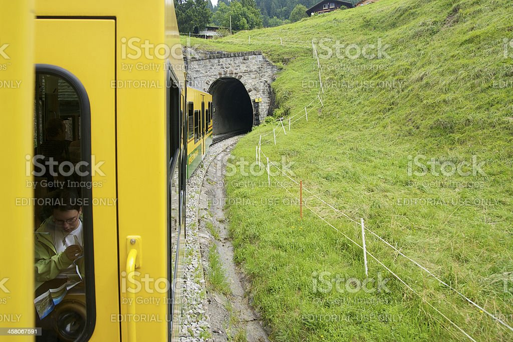 Mountain train in Jungrau Region royalty-free stock photo