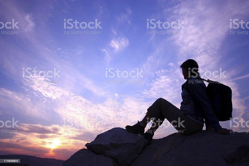 Mountain trekking break royalty-free stock photo