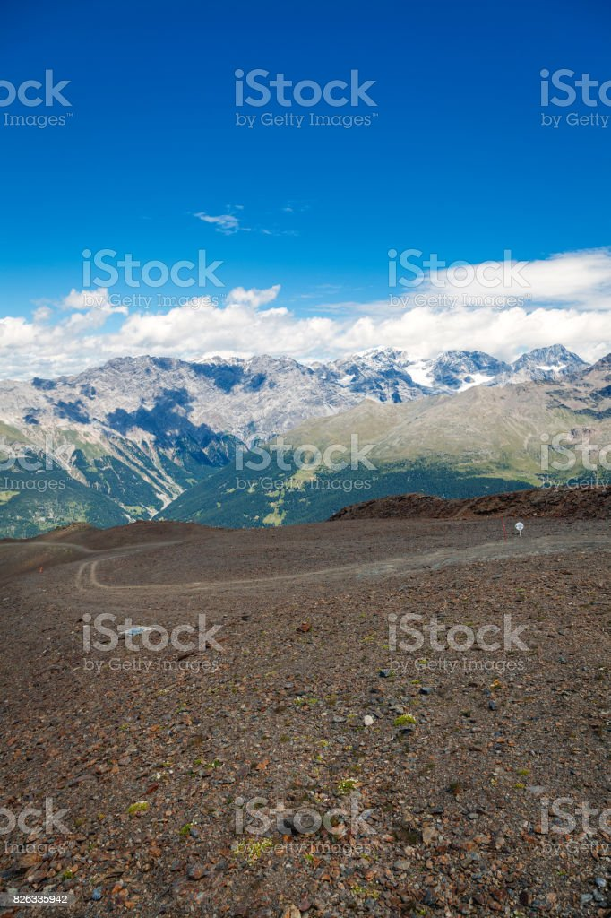 Mountain trekking traces. Color image stock photo