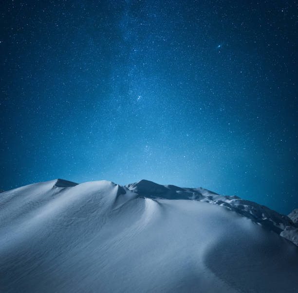 Mountain Under The Starry Sky stock photo