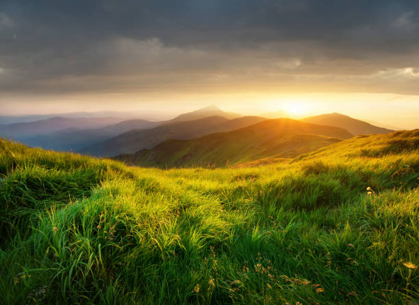 Mountain valley during bright sunset. Beautiful natural landscape in the summer time stock photo