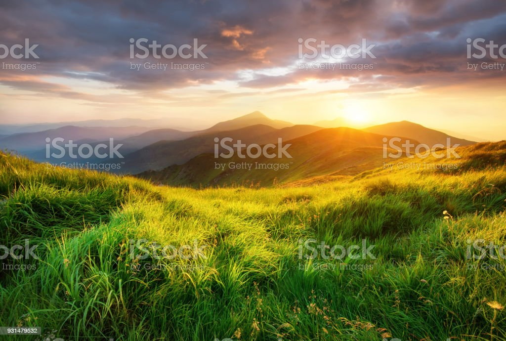 Mountain valley during sunrise. Beutiful natural landsscape in the summer time. royalty-free stock photo