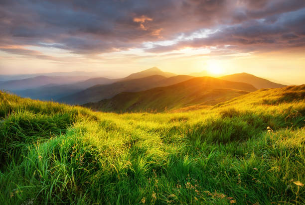 Mountain valley during sunrise. Beutiful natural landsscape in the summer time. stock photo