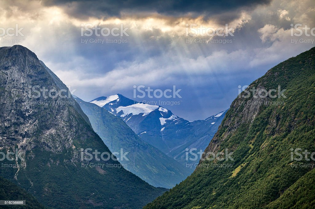 Mountain valley in Norway stock photo