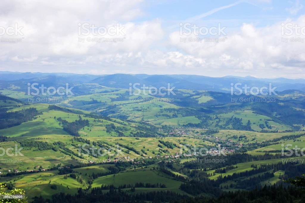 Mountain valley in the clouds royalty-free stock photo
