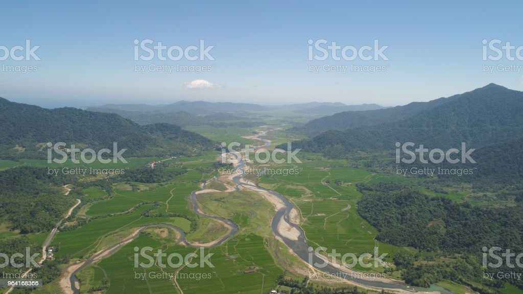 Mountain valley with farmlands in the Philippines stock photo