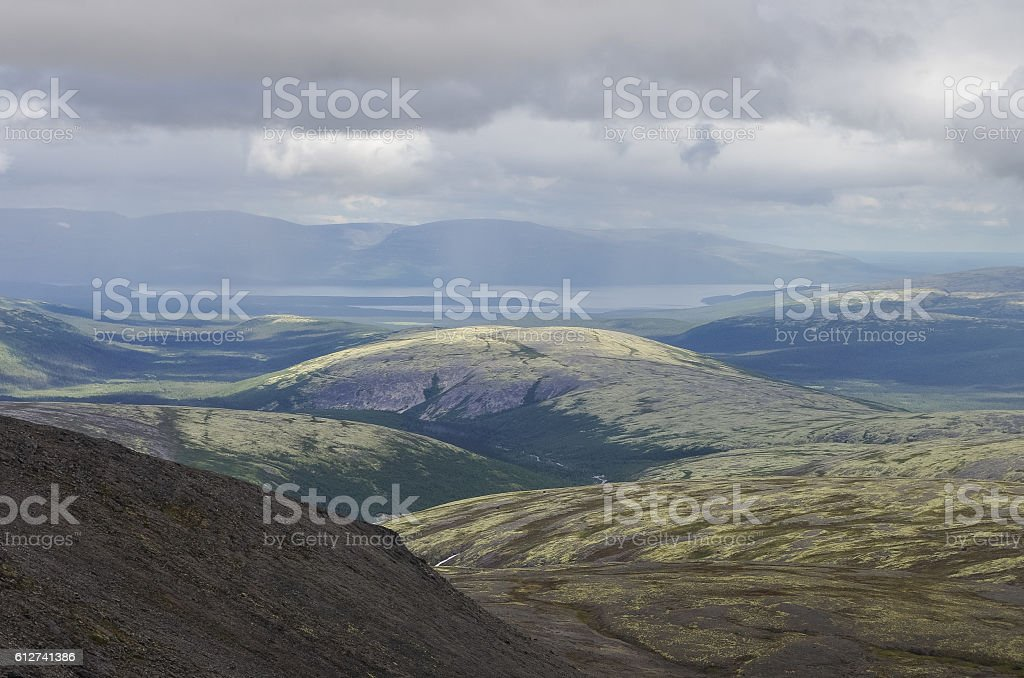 Mountain valley with mosses and rocks covered with lichens. Clou stock photo